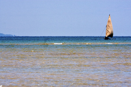in the  blue lagoon relax and boat in madagascar coastline nosy iranja
