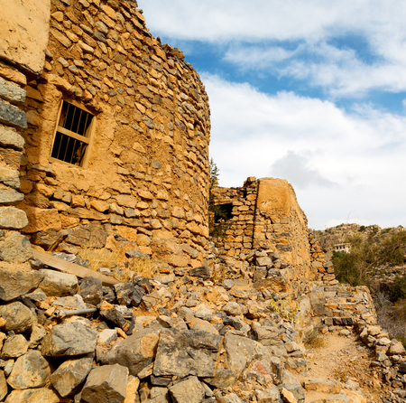 arch village     house and  cloudy sky in   oman the old abandoned Stock Photo