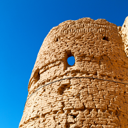 sultry: in iran the old castle near saryadz brick and sky