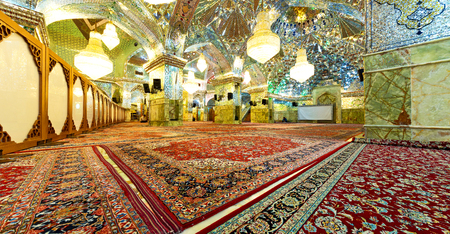 in iran inside the old antique mosque with glass and mirror traditional islam architecture Standard-Bild
