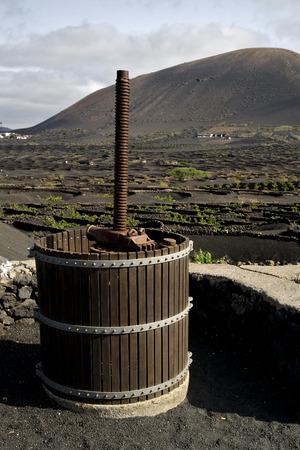 viticulture: press  viticulture  winery lanzarote spain la geria vine screw grapes wall crops  cultivation barrel