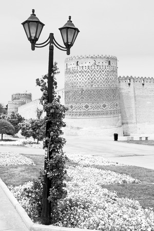shiraz: in iran shiraz the old castle   city defensive architecture near a garden Editorial