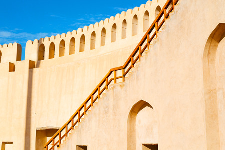sur: fort battlesment sky and    star brick in oman   muscat the old defensive Editorial