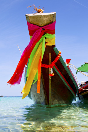 prow: prow thailand  in  kho tao bay asia isle blue clean water    pirogue   and south china sea