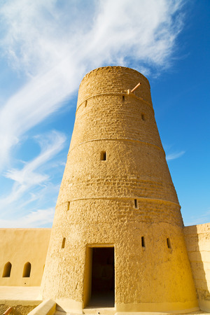 oman: fort battlesment sky and  star brick in oman muscat the old defensive