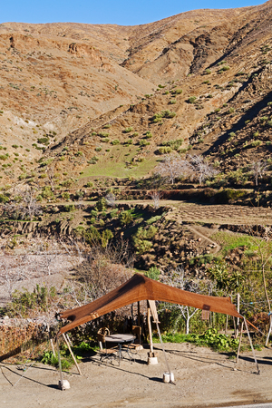 table  in todra gorge morocco africa and    snow