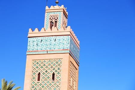 maroc: in maroc africa      minaret  and the blue     sky Stock Photo