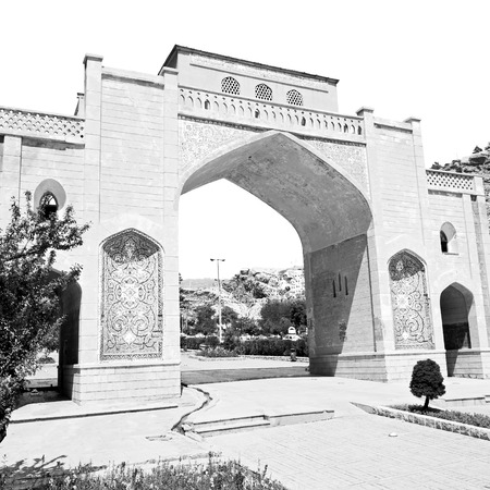 shiraz: in iran shiraz the old gate arch historic entrance for the old city and nature flower