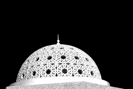 spiritual architecture: minaret and religion in clear sky in oman muscat the old mosque Stock Photo