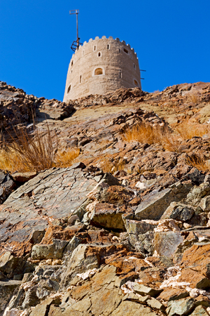 sur: fort battlesment sky and   star brick in oman muscat the old defensive Stock Photo