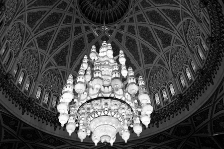 oman: glass  chandelier in oman muscat old mosque and the antique