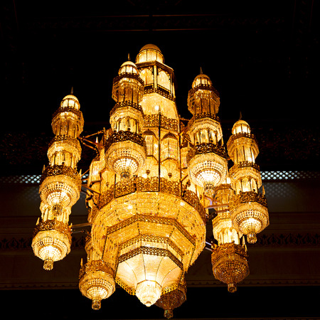 glass  chandelier in oman muscat old mosque and the antique