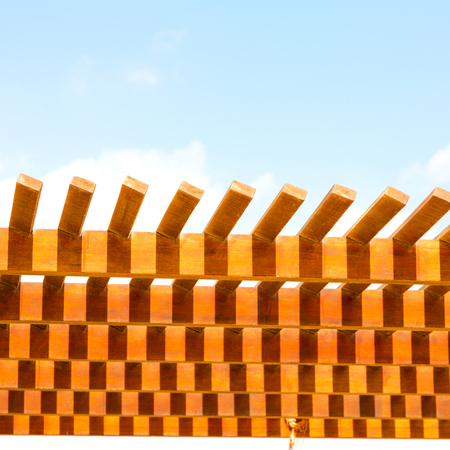 in oman the wooden abstract roof near sky background Stock Photo