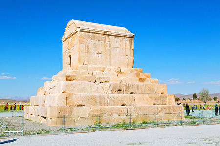 in iran   pasargad the old construction  temple and grave column Editorial