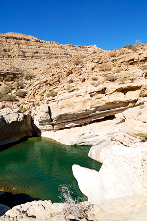 oman: oman old mountain and water in canyon wadi oasi nature paradise