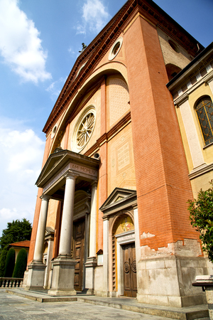 church  in  the    lonate pozzolo  closed brick tower sidewalk italy  lombardy     old Editorial