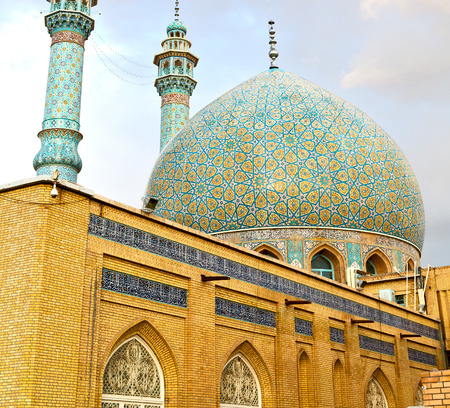 blur in iran  and old antique mosque    minaret religion  persian architecture