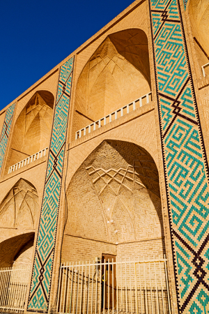 incision: in iran the old mosque and traditional wall tile incision near minaret