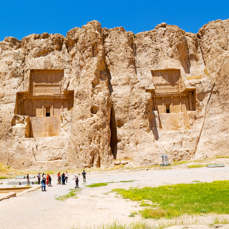 blur in iran near persepolis the old ruins historical destination monuments and mountain Editorial
