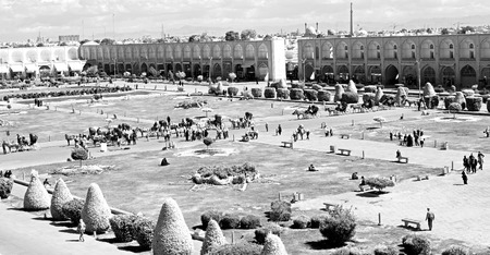 isfahan: in iran   the old square of isfahan prople garden tree heritage tourism and mosque Editorial