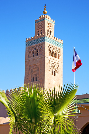 in maroc africa      minaret  and the blue     sky Stock Photo