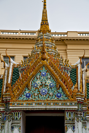 thailand asia   in  bangkok rain  temple abstract cross colors  roof wat       sky      and  colors religion      mosaic