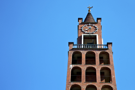 castellanza  old abstract in  italy   the   wall  and church tower bell sunny day Stock Photo