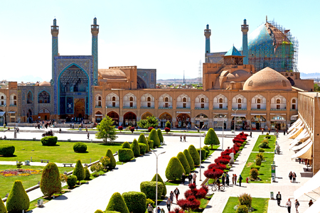 imam: blur in iran   the old square of isfahan prople garden tree heritage tourism and mosque Editorial