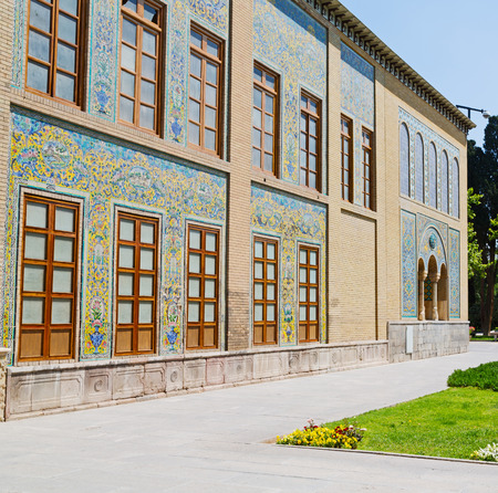 in iran antique palace golestan gate  and garden old eritage and historical place Editorial