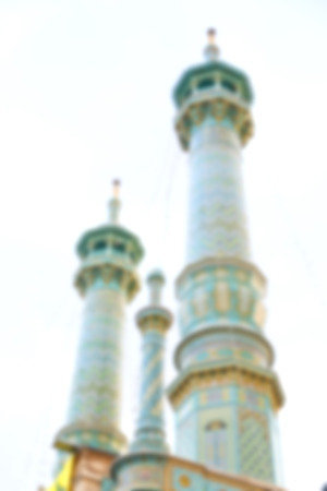 esfahan: blur in iran  islamic mausoleum old   architecture mosque  minaret near the sky