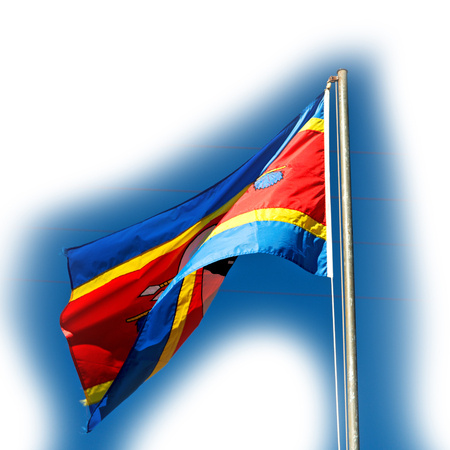 blur in swaziland waving flag  and sky    like abstracr concept Stock Photo