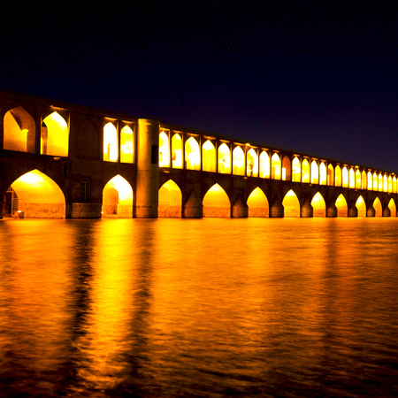in iran   the old bridge of isfahan for light and night Stock Photo