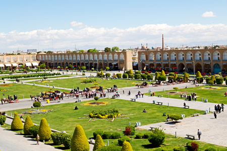 esfahan: in iran   the old square of isfahan prople garden tree heritage tourism and mosque Editorial