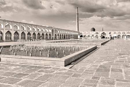isfahan: blur in iran   the old square of isfahan prople garden tree heritage tourism and mosque Stock Photo