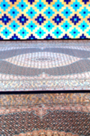 iran mosaic: blur in iran the old decorative flower tiles from antique mosque like background Stock Photo