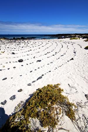 spain  isle white  beach  spiral of black rocks in the   lanzarote
