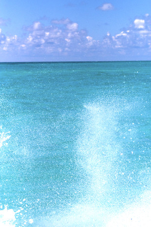 ground in mexico froath and blue  foam  the sea drop sunny day Stock Photo