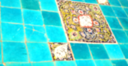 blur in iran the old decorative flower tiles from antique mosque like background Stock Photo
