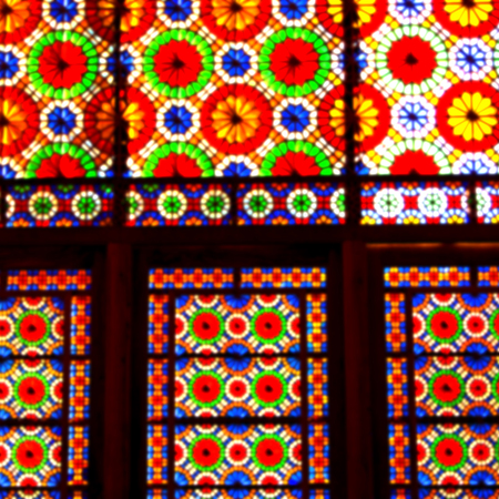 fars: in iran blur colors from the windows the olf mosque traditional scenic light