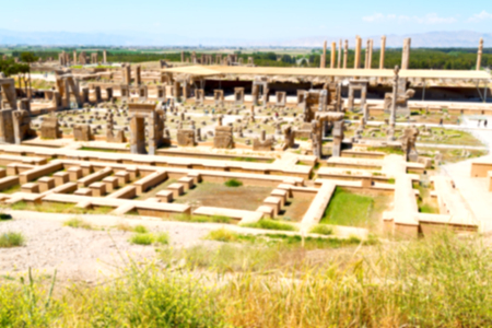 blur in iran persepolis the old  ruins historical destination monuments and ruin Stock Photo