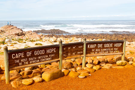 milepost: blur     in south africa   coastline cape of good hope  and natural park reserve