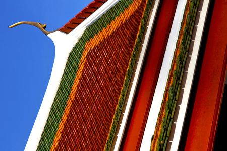 thailand abstract cross colors roof wat  palaces in the temple  bangkok  asia Stock Photo