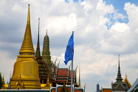 thailand asia   in  bangkok rain  temple abstract cross colors  roof wat  palaces     sky      and  colors religion      mosaic Stock Photo