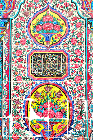 iran mosaic: in iran the old decorative flower tiles from antique mosque like background Stock Photo