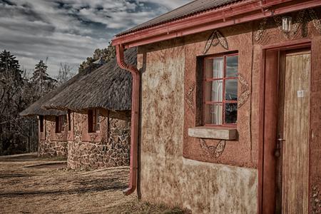blur  in lesotho malealea street village near  mountain  and coultivation field Stock Photo