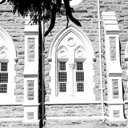 empedrado: blur  in south africa old  church  in city center of reinet graaf and religion building