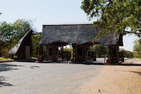 blur in south africa gate signal entrance kruger    national park