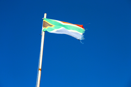 in south africa close up of the blur  national flag on pole Stock Photo