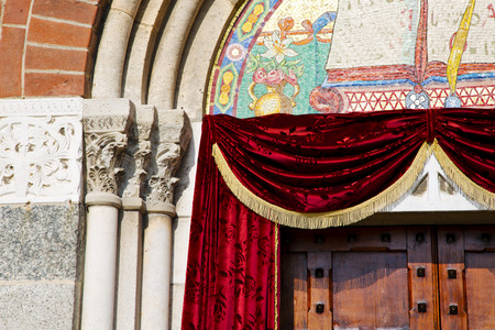 church door   in italy  lombardy   column  the milano old     closed brick Stock Photo