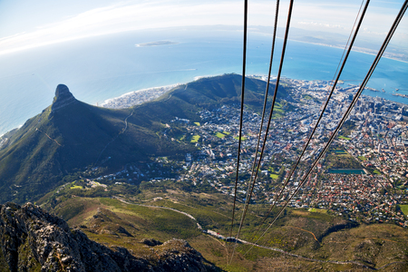 blur  in south africa cape town  city skyline from table mountain sky ocean and house Stock Photo